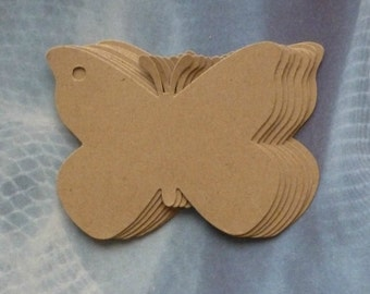 50 butterfly clothing tags price tags blank tags kraft tags hang tags merchandise tags gift tags product tags seller supplies business label