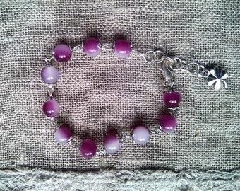 Jewelry, Charm Bracelet, Beaded Bracelet, Wire wrapped Bracelet, Purple Bracelet, Handmade, From Latvia, Glass beads Bracelet, Beadwork