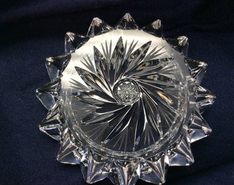 Heavy Ornate Crystal Ashtray