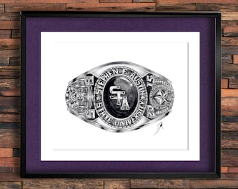 Stephen F. Austin State University Graduation Ring Drawing PRINT, CLASSES 00-50
