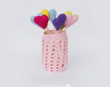 Crochet hearts, Cake Topper, Set 3 hearts & vase, Set 3 amigurumi, Cake Decoration, Heart Accessory, Stuffed heart toy, CHOOSE YOUR COLOUR