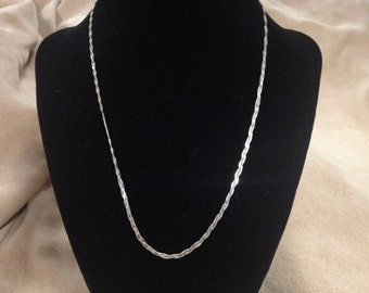 Vintage 925 Sterling Silver ITALY Braided Chain Necklace, Length 17''