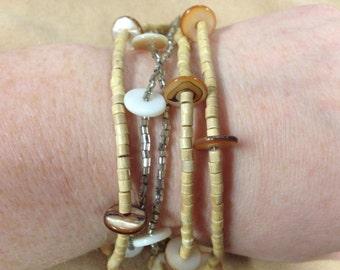 Vintage  Multi Strand Beaded Bracelet, Length 8.5''