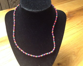 Vintage Multi Color Beaded Necklace, Length 18''