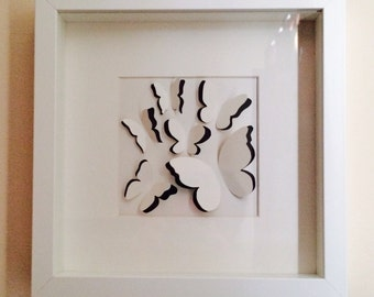 Handcrafted sculpted butterfly picture in frame