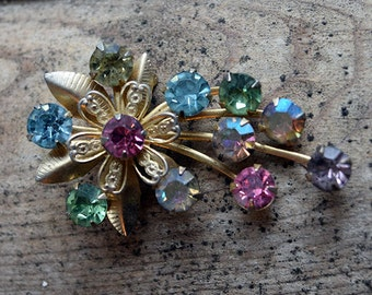 Vintage Multi-color Rhinestone Flower Brooch