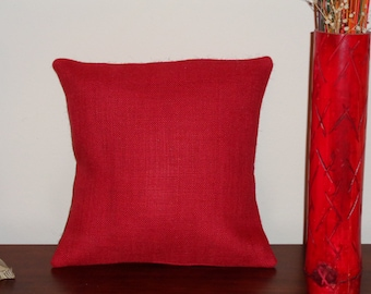 """Christmas in July! Red Burlap Pillow Cover, 14"""" x 14"""" or Choose Your Size, Envelope Enclosure, With or Without Red and White Polka Dot Trim"""