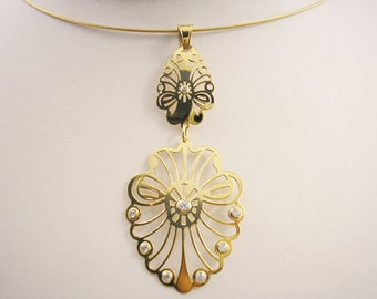 Gold Plated Ornate pendant with Cubic Zirconias