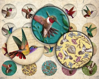 Hummingbirds Digital Download - 12mm, 14mm, 16mm and 18mm circles - Digital Collage Sheet for Pendants, Earrings, Bracelets