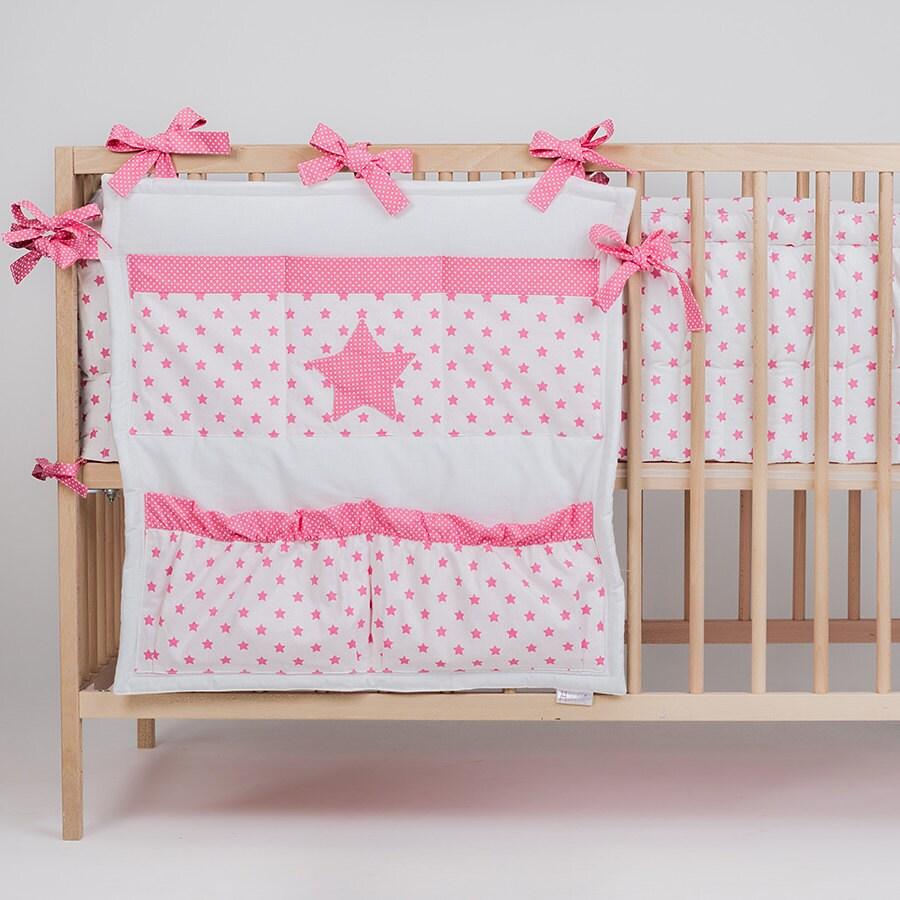Crib Toy Holder : Crib organizer bed pocket star pink spring by