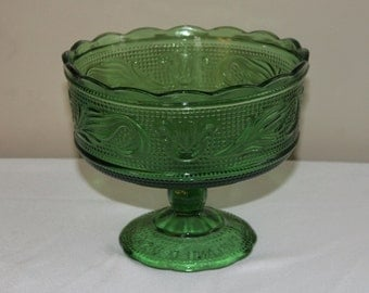 Vintage EO Brody Green Glass Footed Fruit Bowl Compote