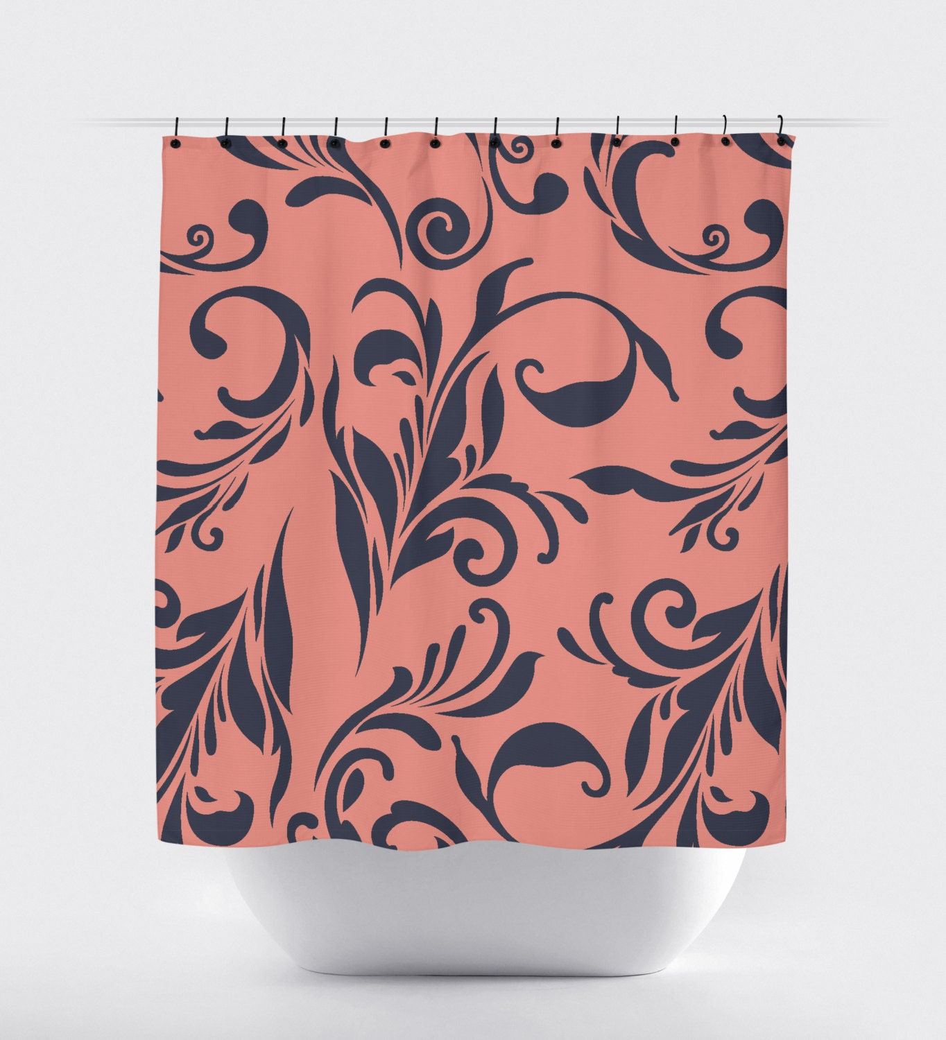 Coral And Navy Flower Shower Curtain Navy Blue Coral Shower