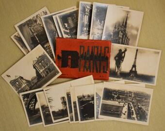 Vintage pocket size set of 20 real silver gelatin photos of Paris with original sleeve
