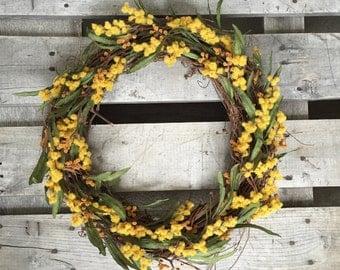 "18"" Spring Wreath, Yellow Wreath, Rustic Wreath, Summer Wreath, Wreath, Sun Wreath, Grapevine Wreath"