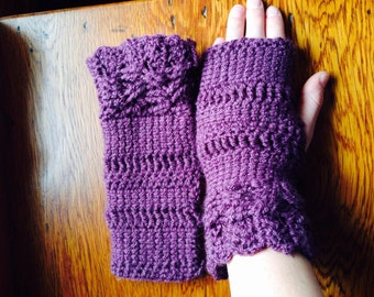 Purple crocheted gloves
