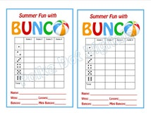 Buy 2 Get 1 Free SUMMER Beach Bunco Score Card Sheet with Matching Table Numbers and Table Tally Sheets Digtal File Download PDF
