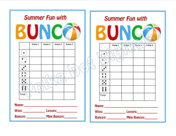 Buy 2 Get 1 Free Summer Beach Bunco Score Card Sheet With
