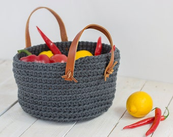 Crochet cotton basket, storage box, with leather straps, graphite, storage basket, crochet basket, toys basket, handmade, home decor