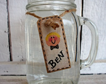 Drink Tags Set, Drink Labels, Personalized Drinking Glasses, Rustic Kitchen Decor, Wood Place Cards, Set of 4