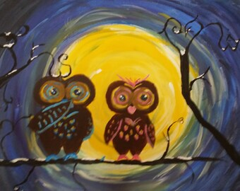 moon owls in love 16 by 20