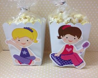 Sleepover Pajama Slumber Party Popcorn or Favor Boxes - Set of 10