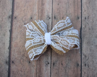Lace Burlap Pinwheel Bow