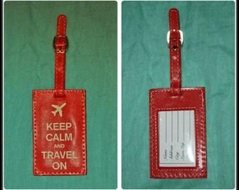 Retro Luggage tag travel Keep Calm