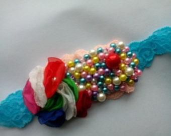 Handmade chiffon flowers and beads headband