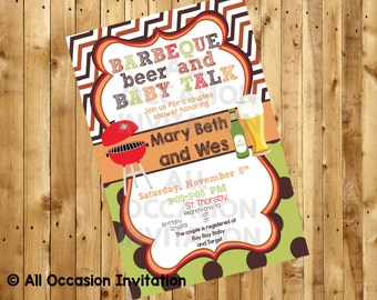 Baby-Que Baby Shower Invitation; Digital File; Printable