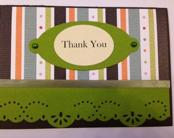Thank You card featuring shades of green and brown