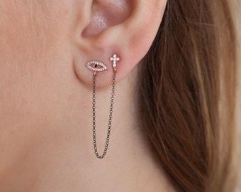 eye cross earrings,Silver 925  with zircon stones