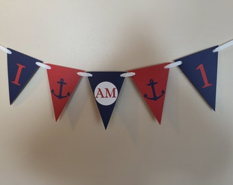 Nautical Anchors 1st Birthday Banner