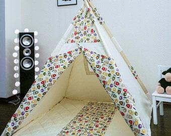 Kids Teepee Tent Play House Owl + Poles + Play Mat