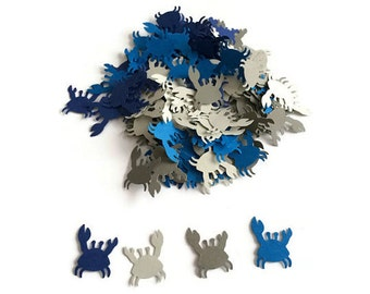100 Blue and Grey Crab Confetti, Die Cut Crab, Baby Shower, Ahoy its a Boy, Clam Bake party, nautical party, wedding shower, beach party