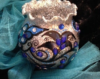 Beautiful Silver and Blues Vase.