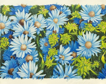 blue asters: signed numbered print