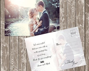 Wedding Photo double sided Thank you postcard custom Thank you card digital files, Bridal Thank you DIY Wedding