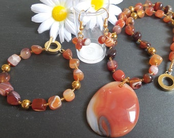 Carnelian Pendant Gemstone Necklace Bracelet Earring Set