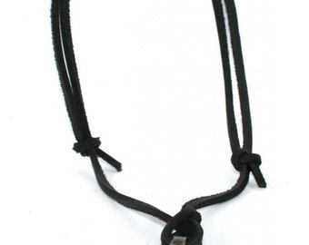 Leather Rope Necklace with Pewter Finish Cross - Large