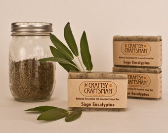 Sage Eucalyptus Soap Bar - Natural Essential Oil Scented