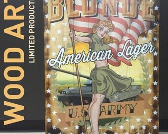 American Lager Postcard Wood Print, Wooden Art, Wall Decor, Retro *FREE SHIPPING*
