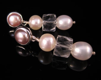 Pink and white freshwater pearls and rock crystal quartz stud earrings in sterling silver