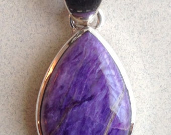 Sterling Silver Charoite Pendant PS-64