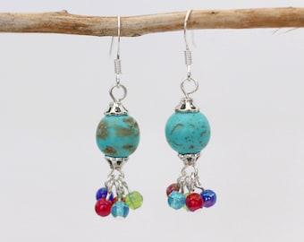 Handmade Turquoise Magnesite Dangle Cluster Earrings