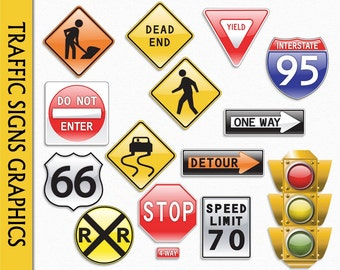 Traffic Sign Clip Art Graphic Road Construction Clipart Scrapbook Transportation Stop One Way Digital Download PNG JPG Vector Commercial Use