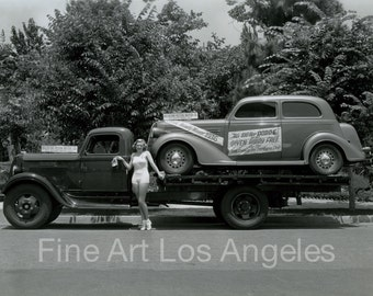 Photo of 1936 Dodge car with cheesecake, promotion