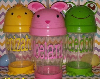 Easter Sippy Cups Personlized, Easter basket stuffer, Easter gift