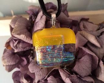 Yellow, blue, green, orange dichroic fused glass pendant