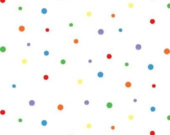 Calendar Babies White Rainbow Polka Dot half yard