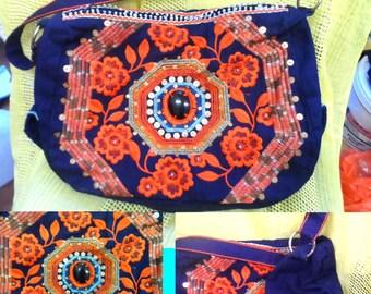 over shoulder embroidered bag